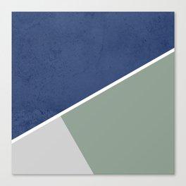 Navy Sage Gray Geometric Canvas Print
