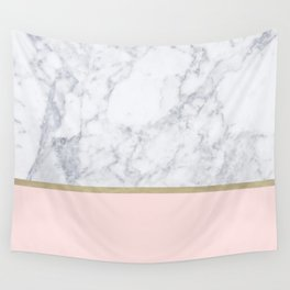 Marble Gold Blush Pink Pattern Wall Tapestry