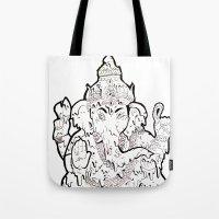 ganesha Tote Bags featuring Ganesha by Sofia Bernikova
