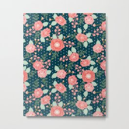 Florals boho modern watercolor blooming blossom garden nature summer spring navy pink white Metal Print