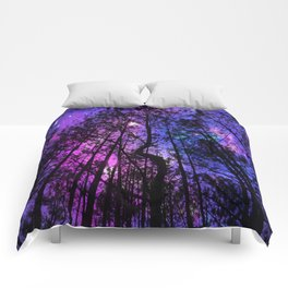 Black Trees Purple Fuchsia Blue space Comforters