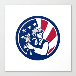 American Engineer USA Flag Icon Canvas Print
