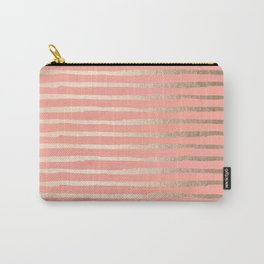 Abstract Stripes Gold Coral Pink Carry-All Pouch