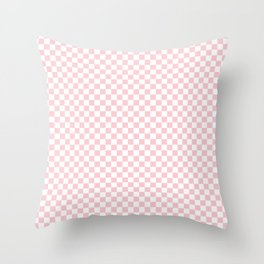 White and Light Millennial Pink Pastel Color Checkerboard Throw Pillow