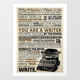 Writer Writing You Are A Writer Art Print