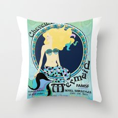 Art Nouveau Mermaid Poster Throw Pillow