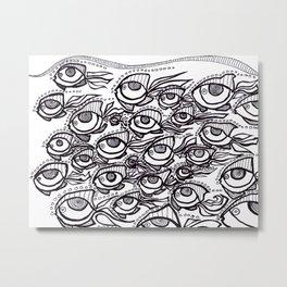 Crowded School of Fish Eyes Metal Print
