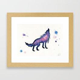 Purple Pink Nebula Wolf Framed Art Print