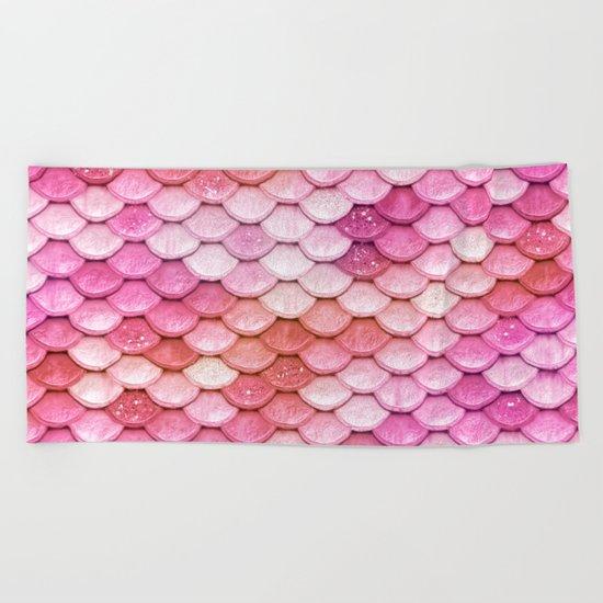 Multicolor pink mermaid glitter scales - Mermaidscales Beach Towel