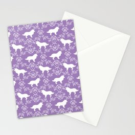 Border Collie silhouette minimal floral florals dog breed pet pattern purple and white Stationery Cards