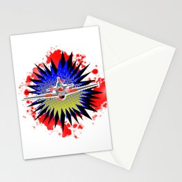Fighter Plane Cartoon Stationery Cards