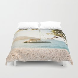 Fitzroy Island Catamaran | Cairns Australia Tropical Beach Sunset Photography Duvet Cover