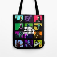 grand theft auto Tote Bags featuring Grand Theft Diamond Snatchers by Ant Atomic