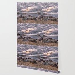Cloudy beach sunset Wallpaper