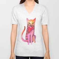 pet cat with precious prey Unisex V-Neck