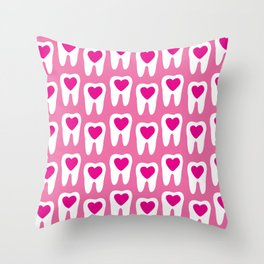 Teeth pattern with hearts in the center on pink background Throw Pillow