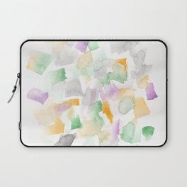 180713 Abstract Purple Yellow Decor 10| Watercolor Brush Strokes Laptop Sleeve