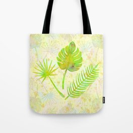 Tropical Leaf Watercolor Painting, Green Palm Tree Leaves Tote Bag