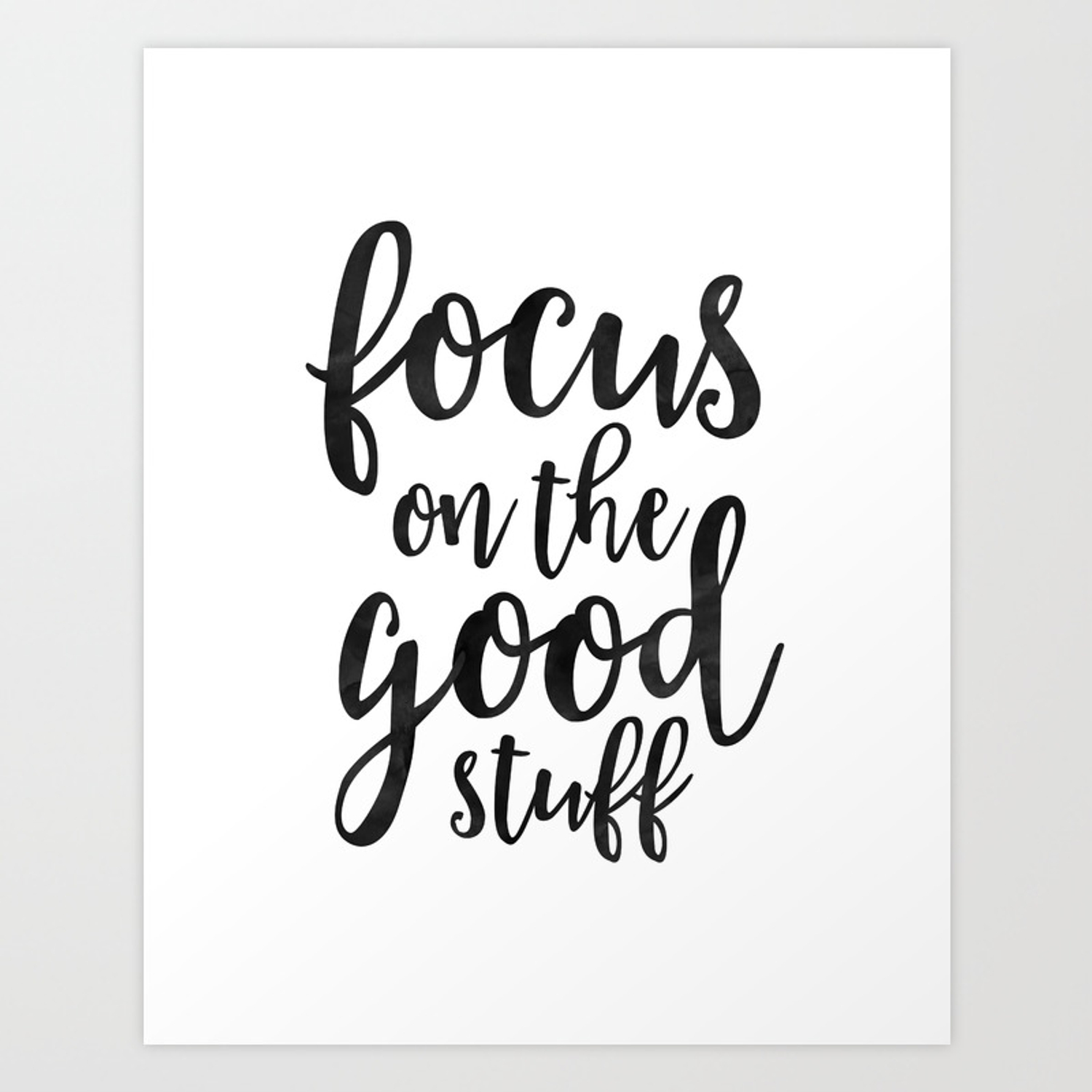 Printable art focus on the good stuffmotivational quoteblack and whiteoffice decorworkout quote art print