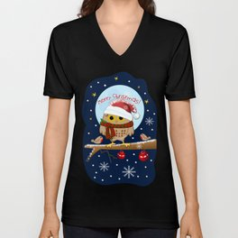 Owl's Christmas in a snowy world Unisex V-Neck