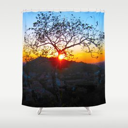 SUNSET OVER THE HILL Shower Curtain