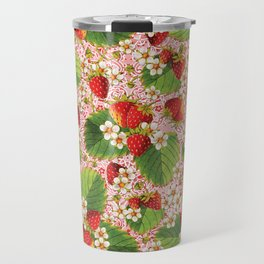 Pink Paisley Strawberries Travel Mug