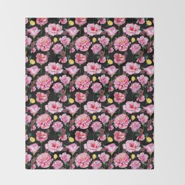 Modern pink green yellow watercolor roses pattern Throw Blanket