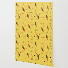 Ovals and Starbursts Gold Wallpaper