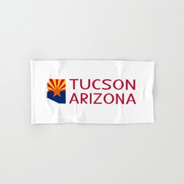 Arizona: Tucson (State Shape & Flag) Hand & Bath Towel