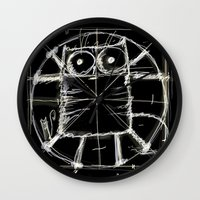 da vinci Wall Clocks featuring Kot da Vinci (black) by Katja Main