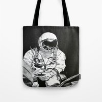 spaceman Tote Bags featuring Spaceman by Bri Jacobs