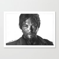 daryl dixon Canvas Prints featuring Daryl Dixon by Mike Robins