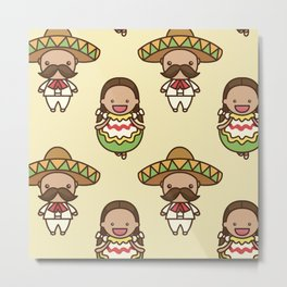 Mexican People Pattern Decoration Metal Print