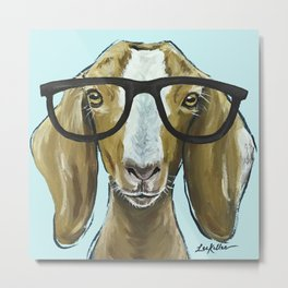 Goat with Glasses, Farm Animal Art Metal Print