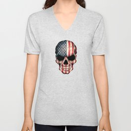 American Flag Skull on Black Unisex V-Neck