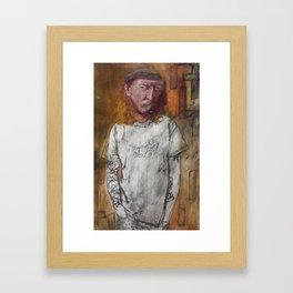 Tattoos van Rjin, Oil on Collagraph Print by Jain McKay. Framed Art Print