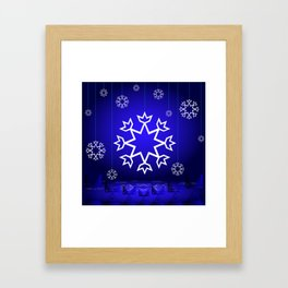 Xmas Blue with snowflake and tipi Framed Art Print