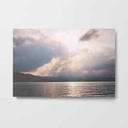 sunset on the Hudson Metal Print