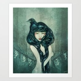 Oracle of the sodden raven Art Print
