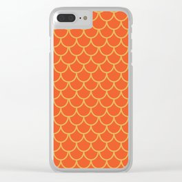Mermaid Scales Pattern in Orange. Gold Scallops_Orange Clear iPhone Case