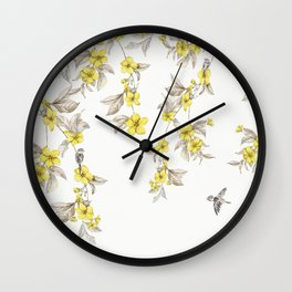 Birds and Cherry blossoms II Wall Clock