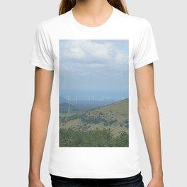 Oreum, windmill, and the harmony of the sea , Jeju Island, Korea. T-shirt