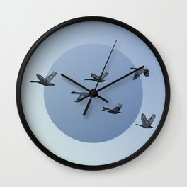 Wild Geese Fly North Wall Clock