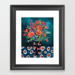 California Poppy and Wildflower Bouquet on Emerald with Tigers Still Life Painting Framed Art Print