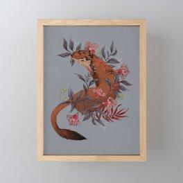 Stoat In Foliage Framed Mini Art Print