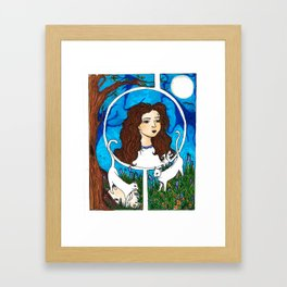 Cats are her friends Framed Art Print