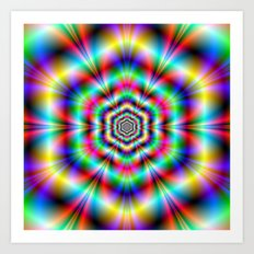 Psychedelic Hexagon Rings Art Print