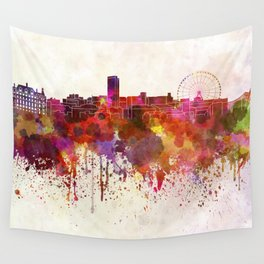 Sheffield skyline in watercolor background Wall Tapestry