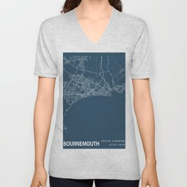 Bournemouth Blueprint Street Map, Bournemouth Colour Map Prints Unisex V-Neck