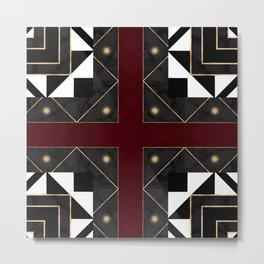 FourSquared  Black White Red Gold Pattern Metal Print